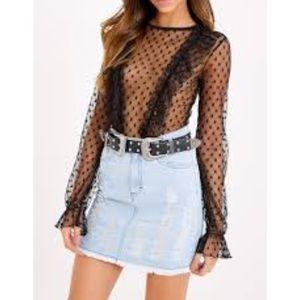 Polka dot ruffle mesh bodysuit size S